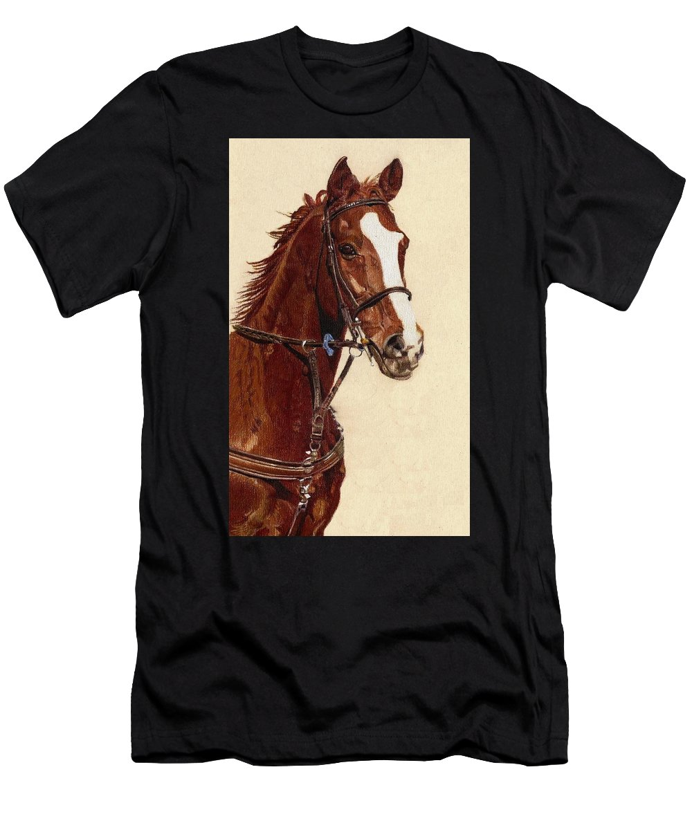 Art+prints Men's T-Shirt (Athletic Fit) featuring the painting Proud - Portrait Of A Thoroughbred Horse by Patricia Barmatz