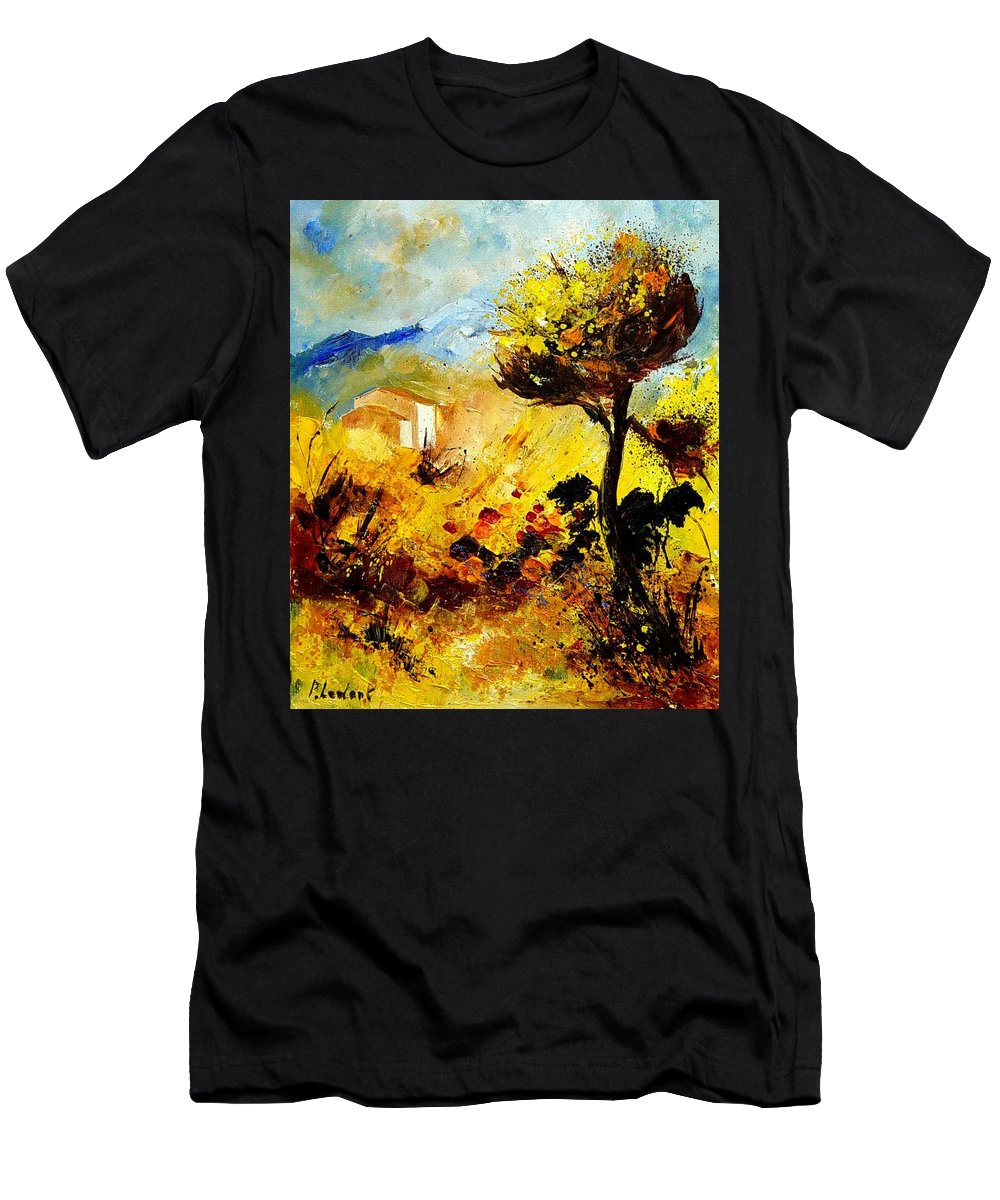 Flowers Men's T-Shirt (Athletic Fit) featuring the painting Provence 56 by Pol Ledent