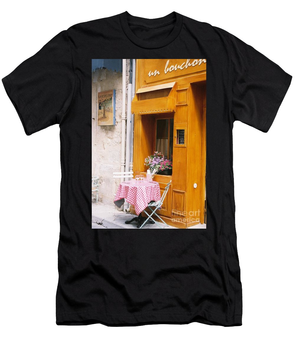 Cafe Men's T-Shirt (Athletic Fit) featuring the photograph Provence Cafe by Nadine Rippelmeyer