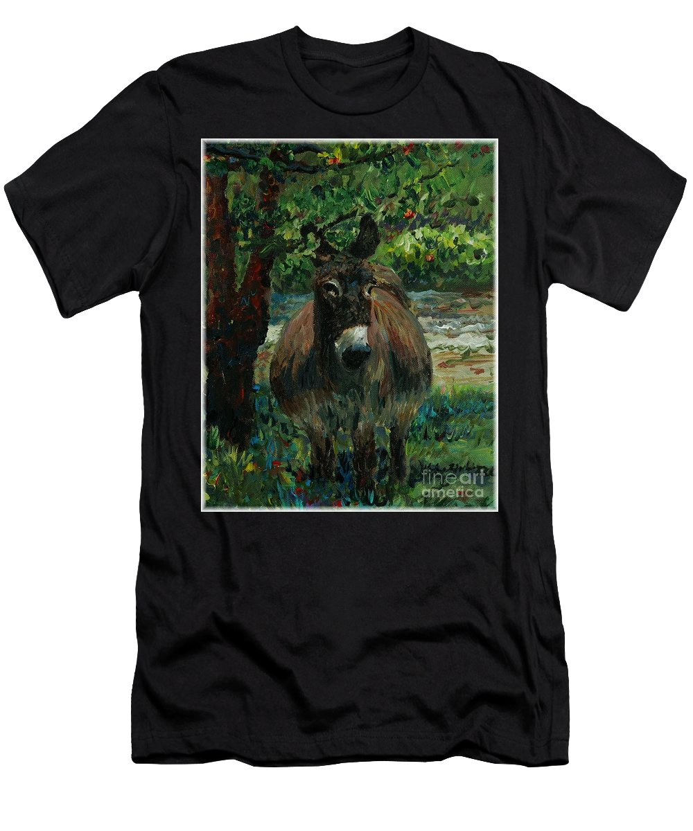 Donkey Men's T-Shirt (Athletic Fit) featuring the painting Provence Donkey by Nadine Rippelmeyer