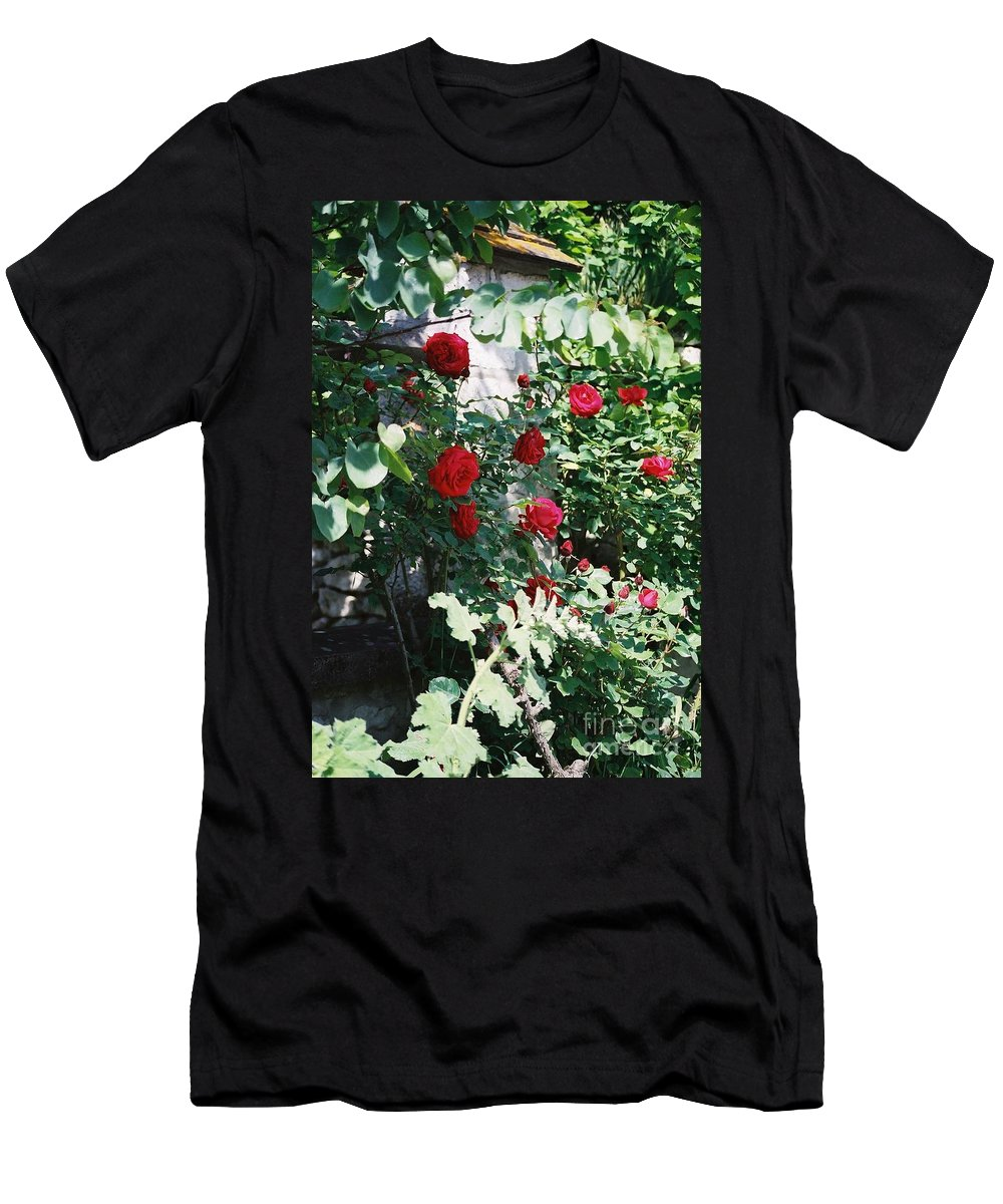 Floral Men's T-Shirt (Athletic Fit) featuring the photograph Provence Red Roses by Nadine Rippelmeyer