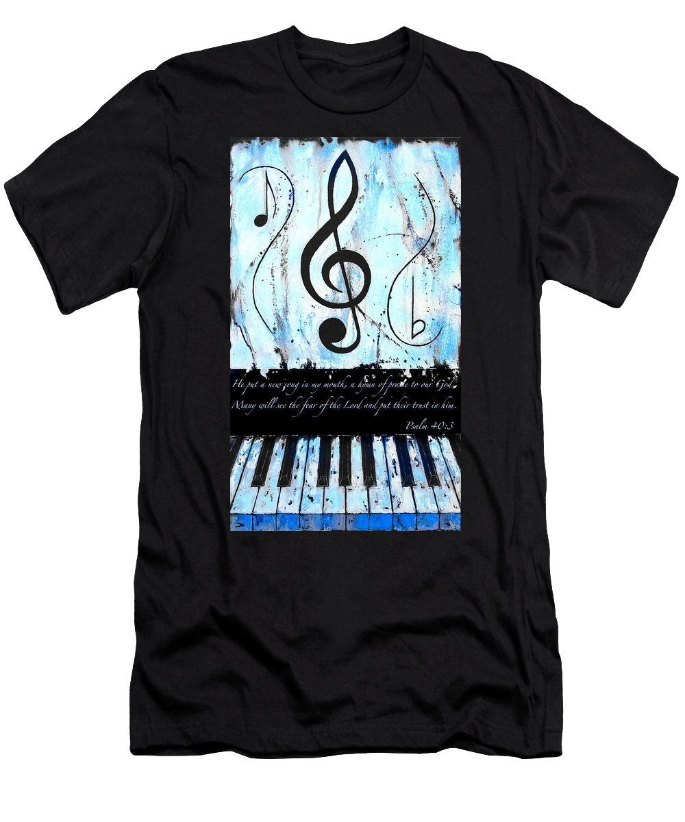 Psalm 40/3 Blue Men's T-Shirt (Athletic Fit) featuring the mixed media Psalm 40/3 Blue by Wayne Cantrell