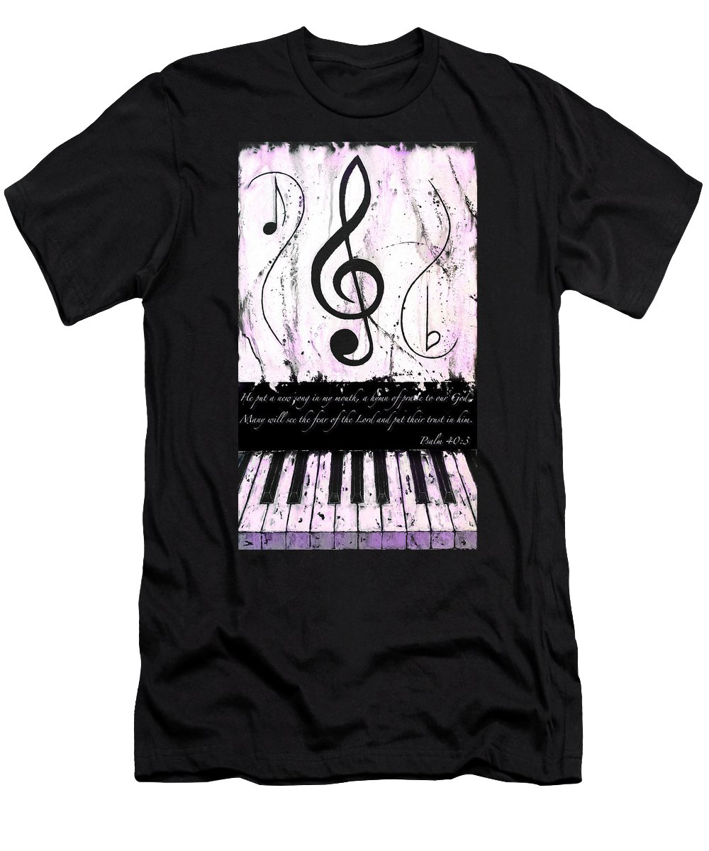 Psalm 40/3 Purple Men's T-Shirt (Athletic Fit) featuring the mixed media Psalm 40/3 Purple by Wayne Cantrell