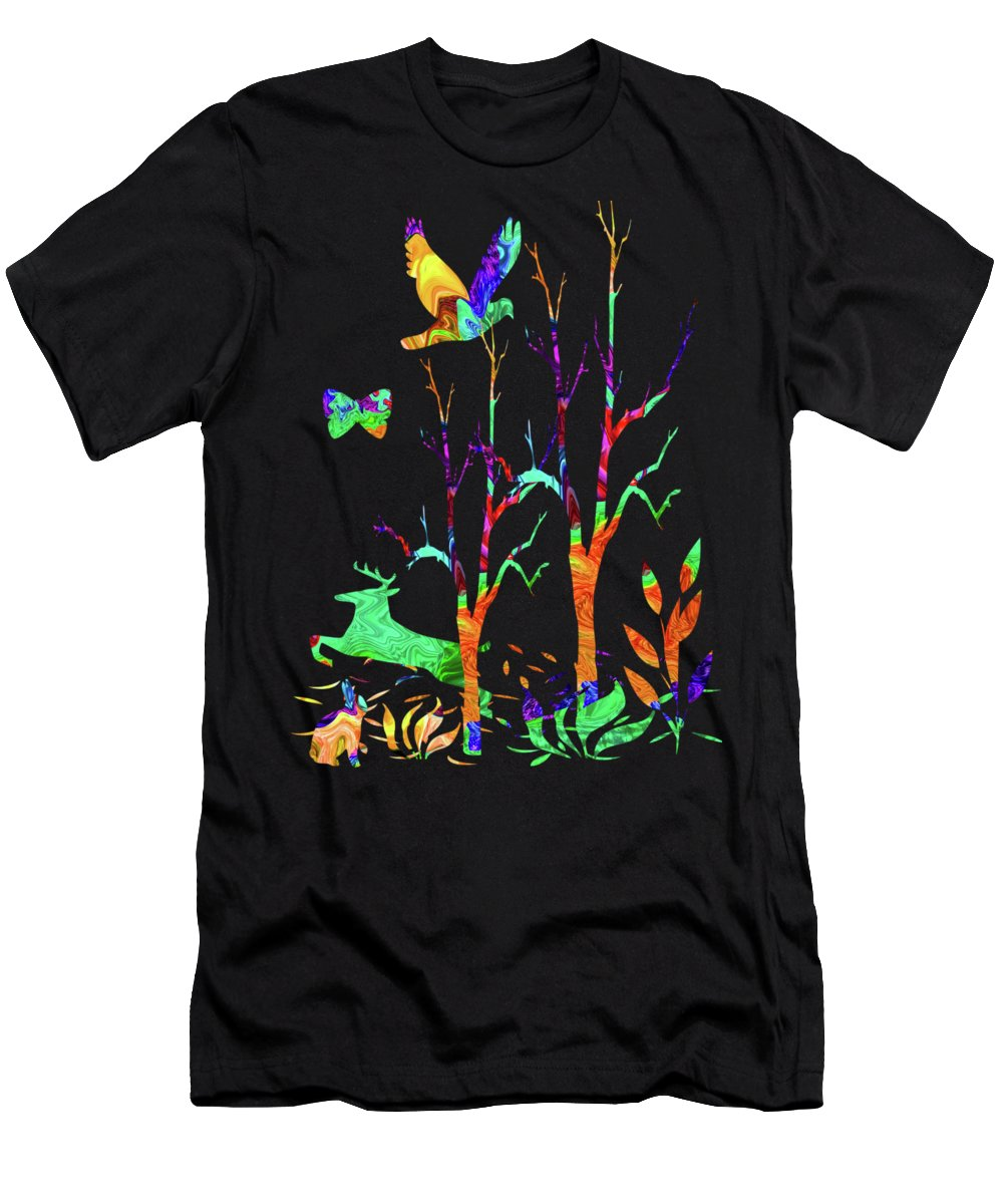 Abstract Men's T-Shirt (Athletic Fit) featuring the photograph Psychedelic Forest by Kathy Moll