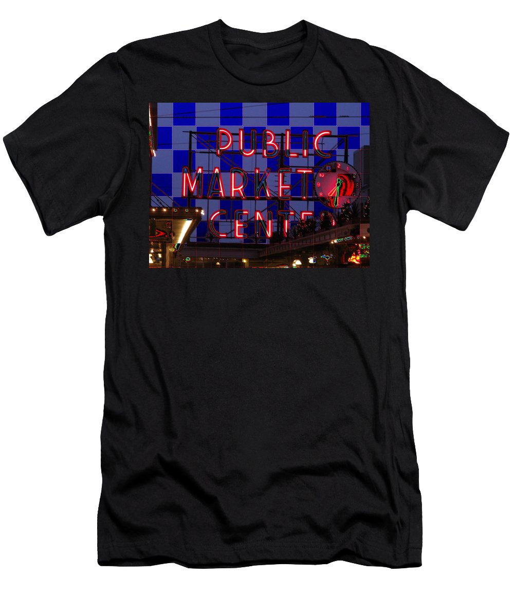 Seattle Men's T-Shirt (Athletic Fit) featuring the digital art Public Market Checkerboard by Tim Allen