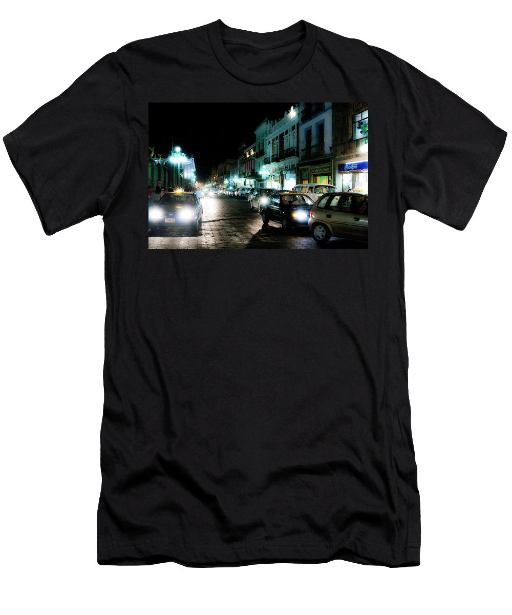 Mexico Men's T-Shirt (Athletic Fit) featuring the photograph Puebla At Night 2 by Lee Santa