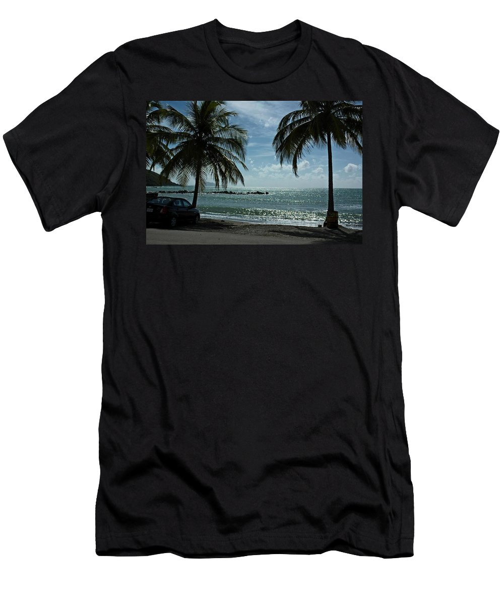 Landscape Men's T-Shirt (Athletic Fit) featuring the photograph Puerto Rican Beach by Tito Santiago