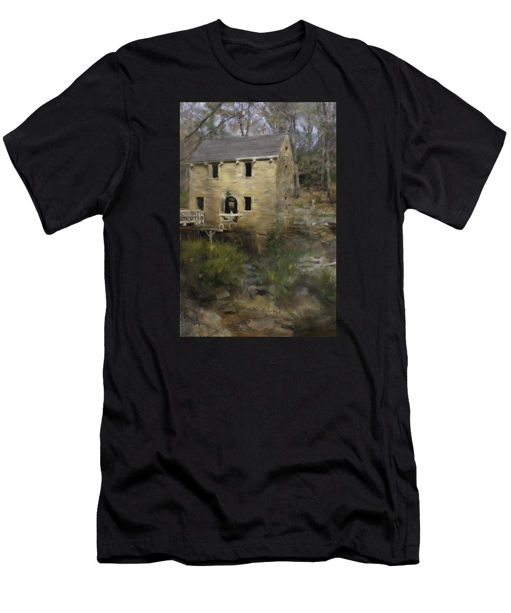 Pugh Mill Men's T-Shirt (Athletic Fit) featuring the painting Pugh Mill by Renee Skiba