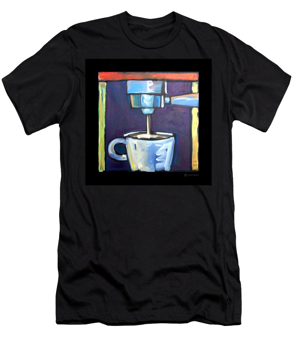 Coffee Men's T-Shirt (Athletic Fit) featuring the painting Pulling A Shot by Tim Nyberg
