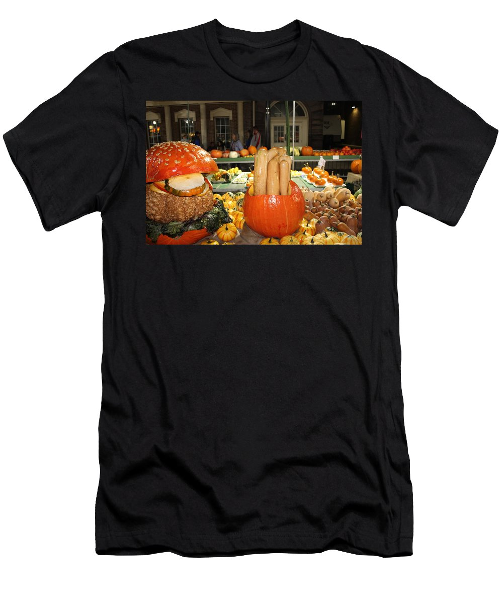 Pumpkin Show Men's T-Shirt (Athletic Fit) featuring the photograph Pumpkins by Nita Strawn