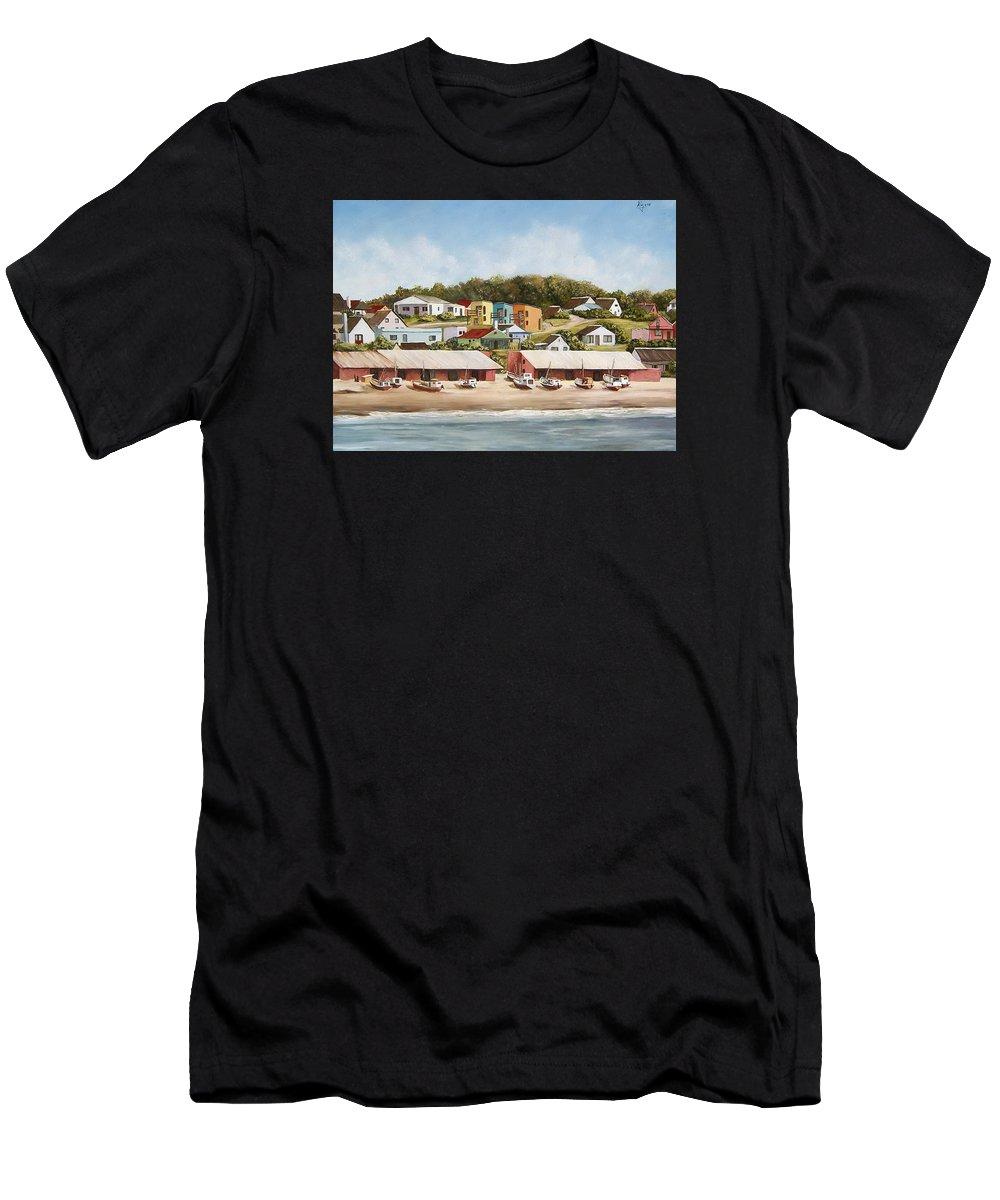 Landscape Seascape Uruguay Sea Seaside Boats Men's T-Shirt (Athletic Fit) featuring the painting Punta Del Diablo 2 by Natalia Tejera