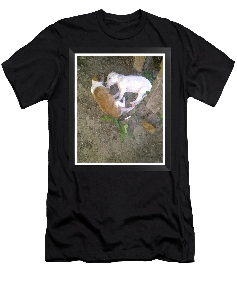 Dogs Men's T-Shirt (Athletic Fit) featuring the photograph Puppy Love by Alcesa Grenville