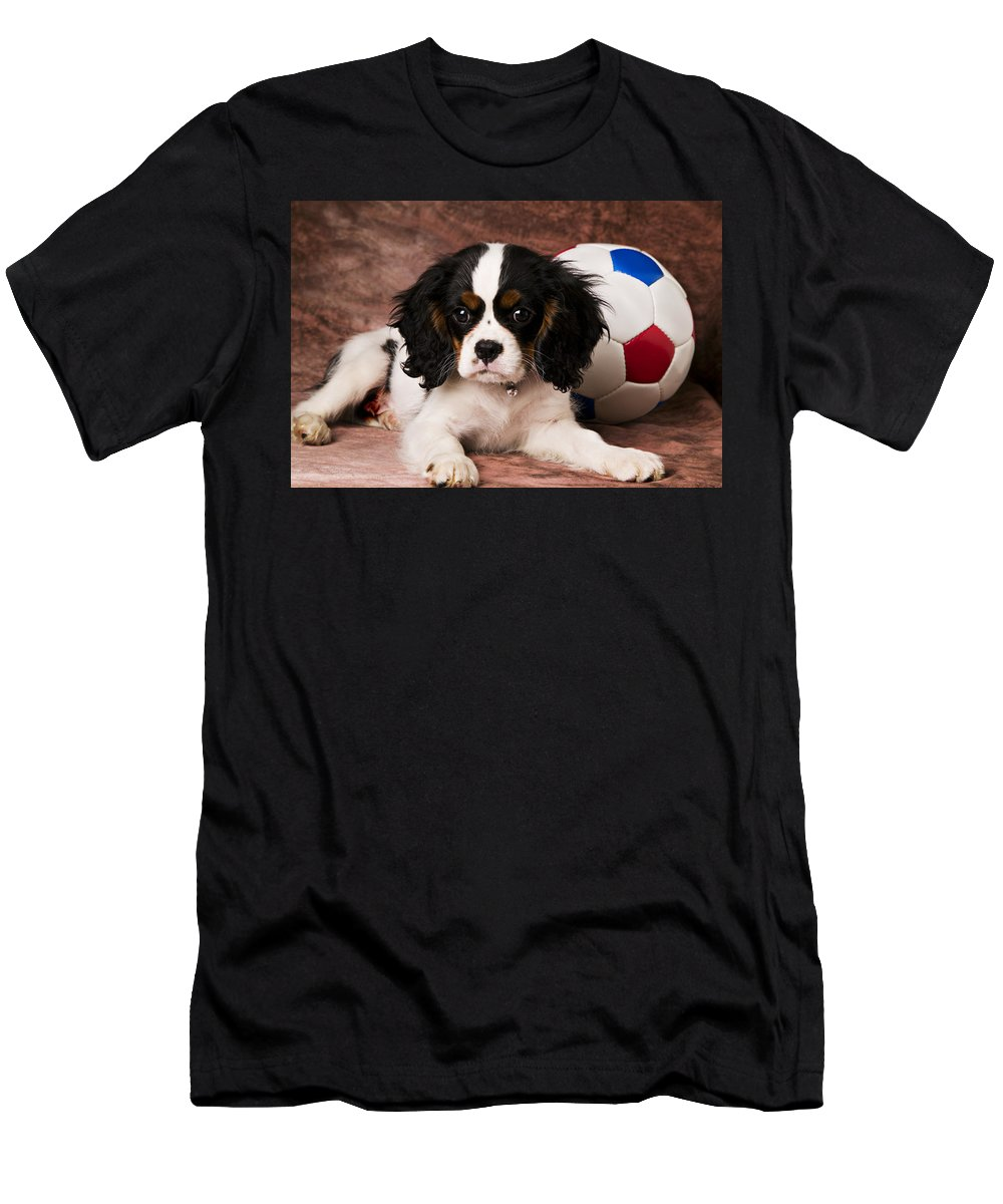 Puppy Dog Cute Doggy Domestic Pup Pet Pedigree Canine Creature Soccer Ball Men's T-Shirt (Athletic Fit) featuring the photograph Puppy With Ball by Garry Gay