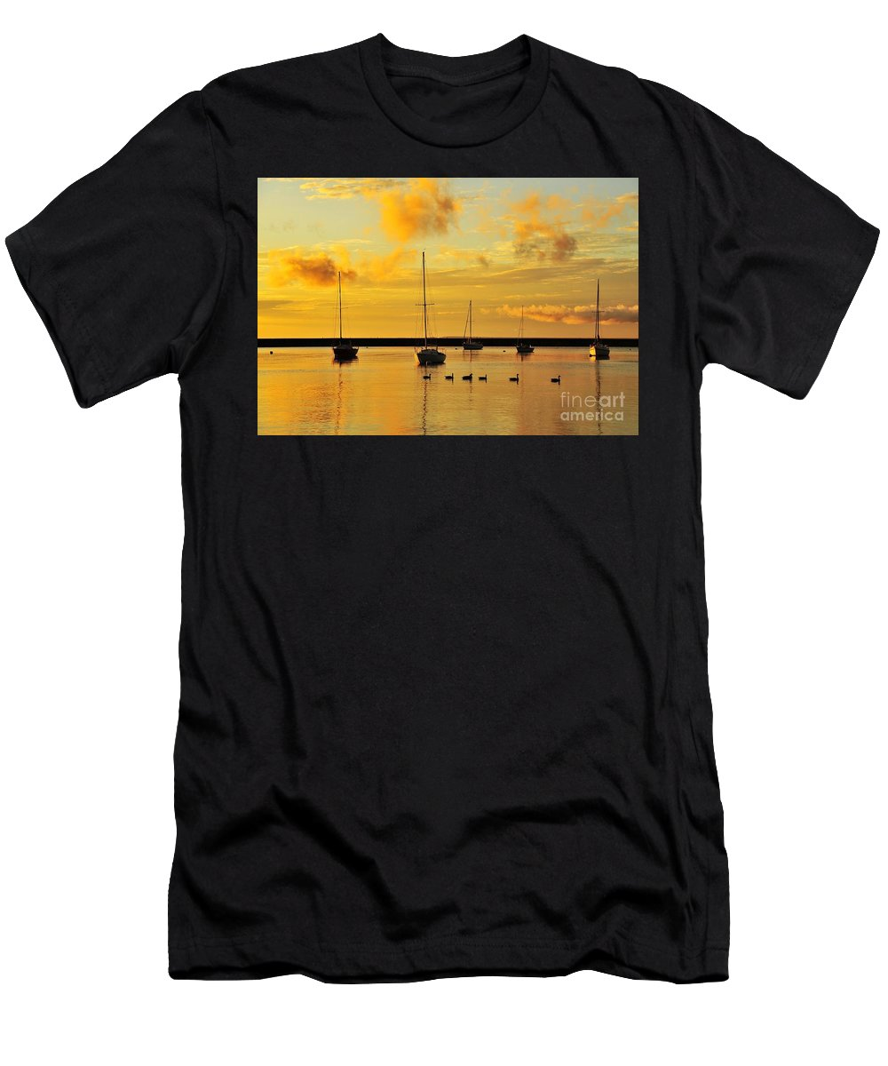 Sailboat Men's T-Shirt (Athletic Fit) featuring the photograph Pure Michigan Gold by Terri Gostola