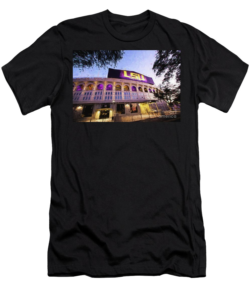 Lsu Men's T-Shirt (Athletic Fit) featuring the photograph Purple And Gold - Digital Painting by Scott Pellegrin