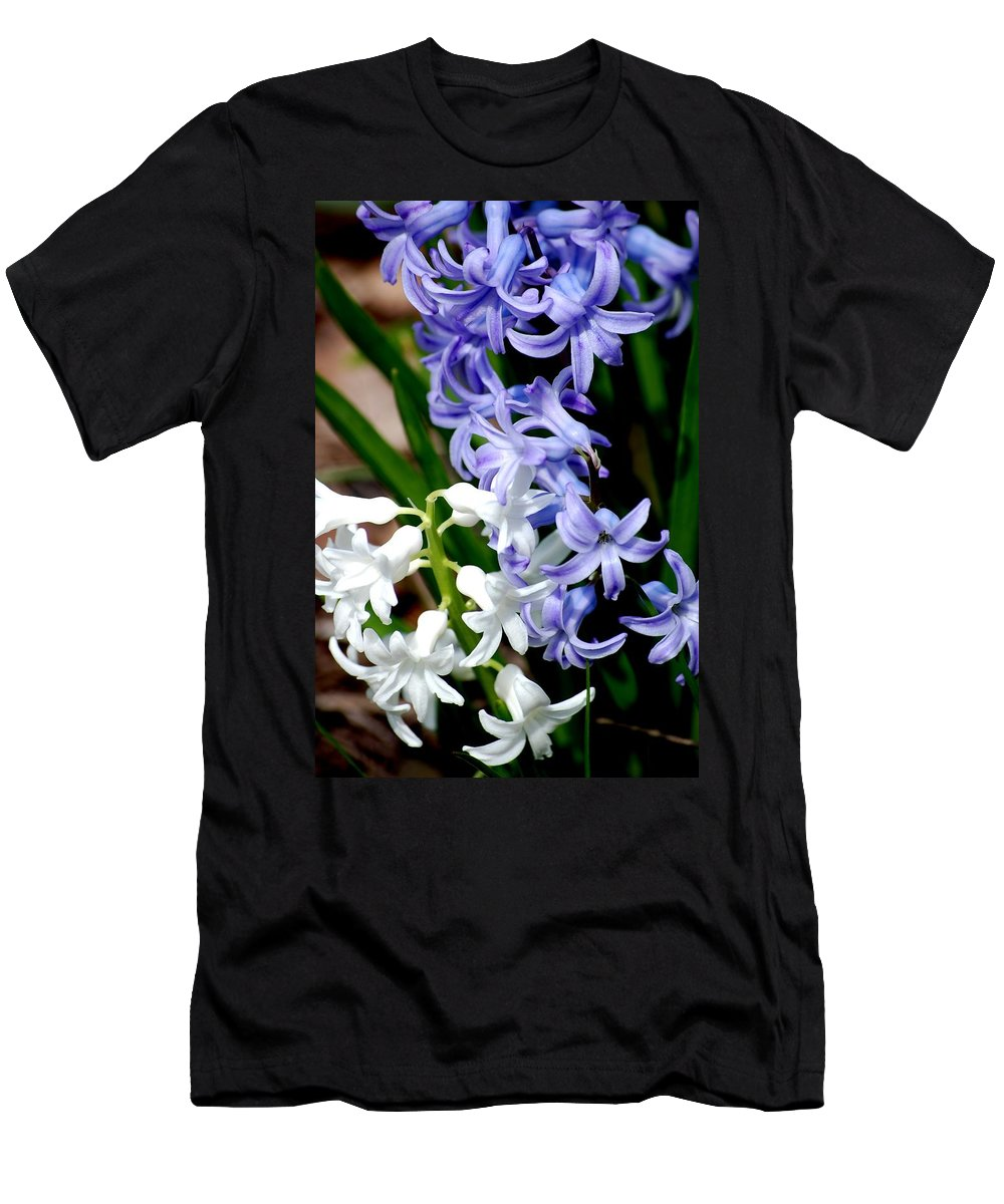 Digital Photography Men's T-Shirt (Athletic Fit) featuring the photograph Purple And White Hyacinth by David Lane