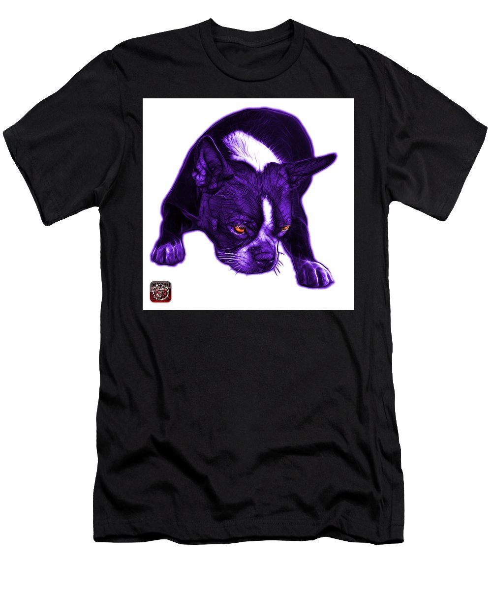 Boston Terrier Men's T-Shirt (Athletic Fit) featuring the mixed media Purple Boston Terrier Art - 8384 - Wb by James Ahn