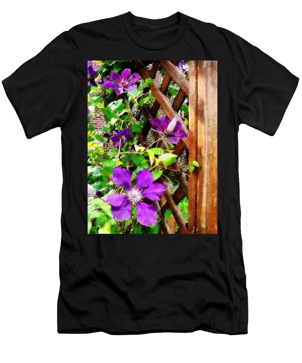 Men's T-Shirt (Athletic Fit) featuring the photograph Purple Clematis On Trellis by Susan Savad