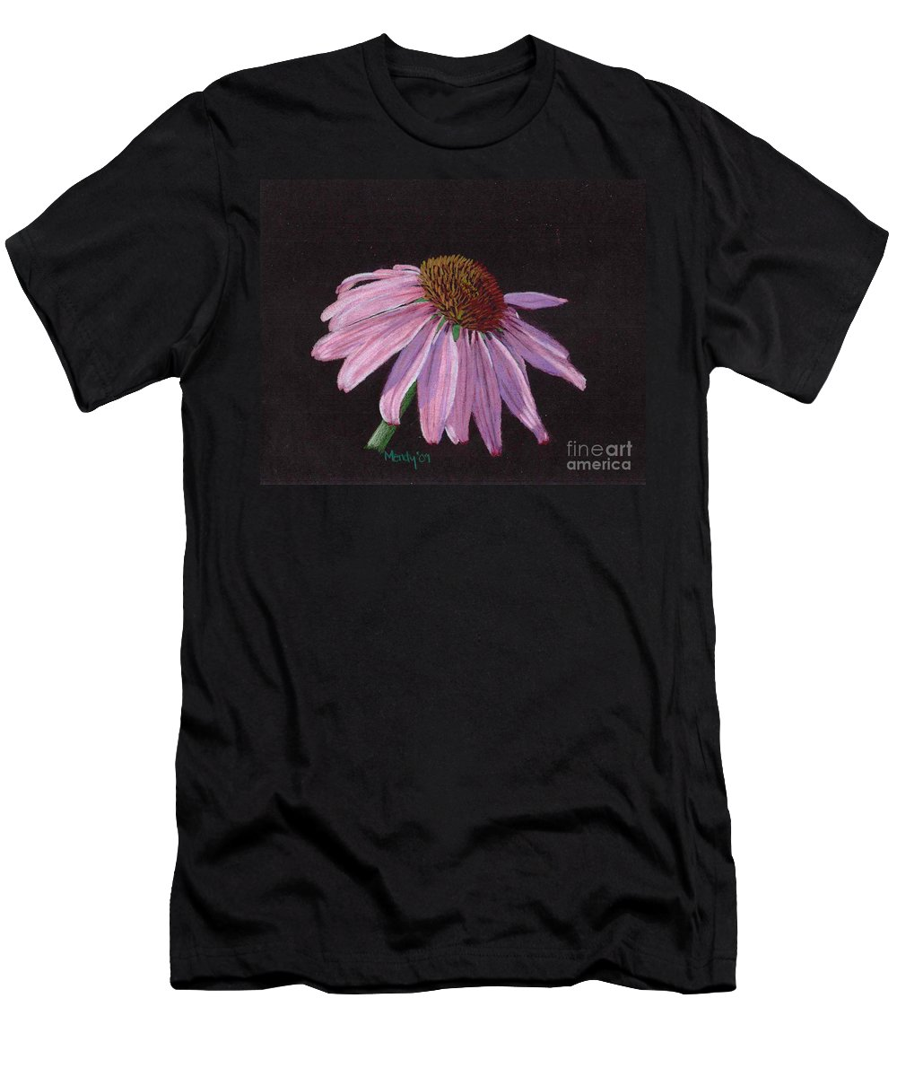 Flower Men's T-Shirt (Athletic Fit) featuring the pastel Purple Coneflower by Mendy Pedersen