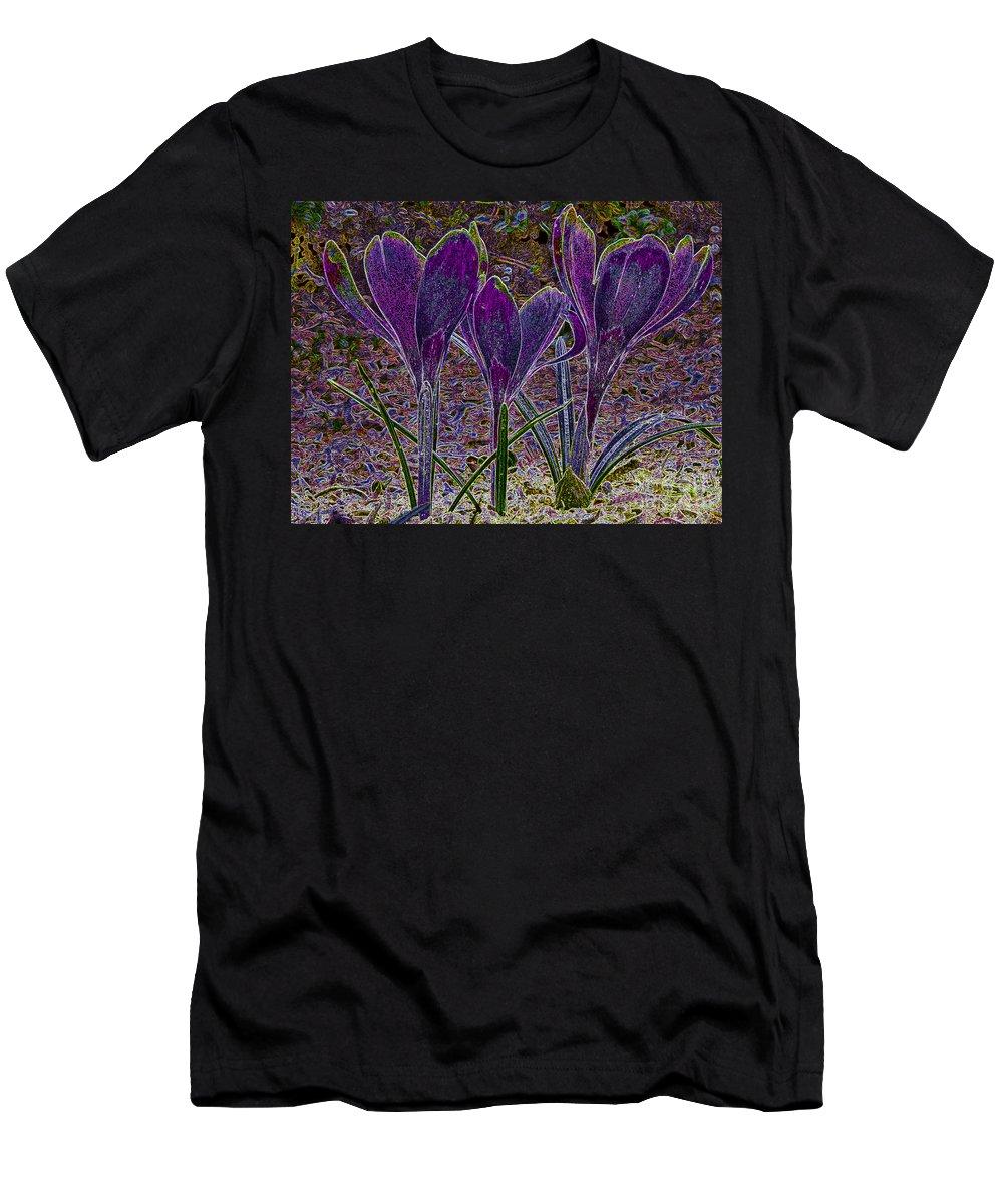 Purple Crocuses Men's T-Shirt (Athletic Fit) featuring the photograph Purple Crocuses by Sharon Talson