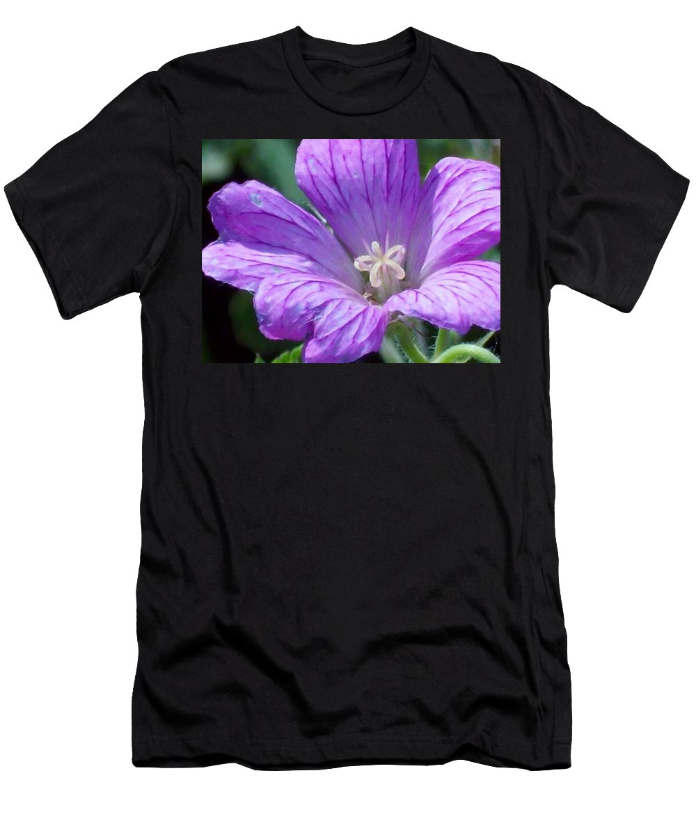 Flower Flowering Purple Closeup Garden Petals Greenery Men's T-Shirt (Athletic Fit) featuring the photograph Purple Flower by Cheryl Carder-Hall