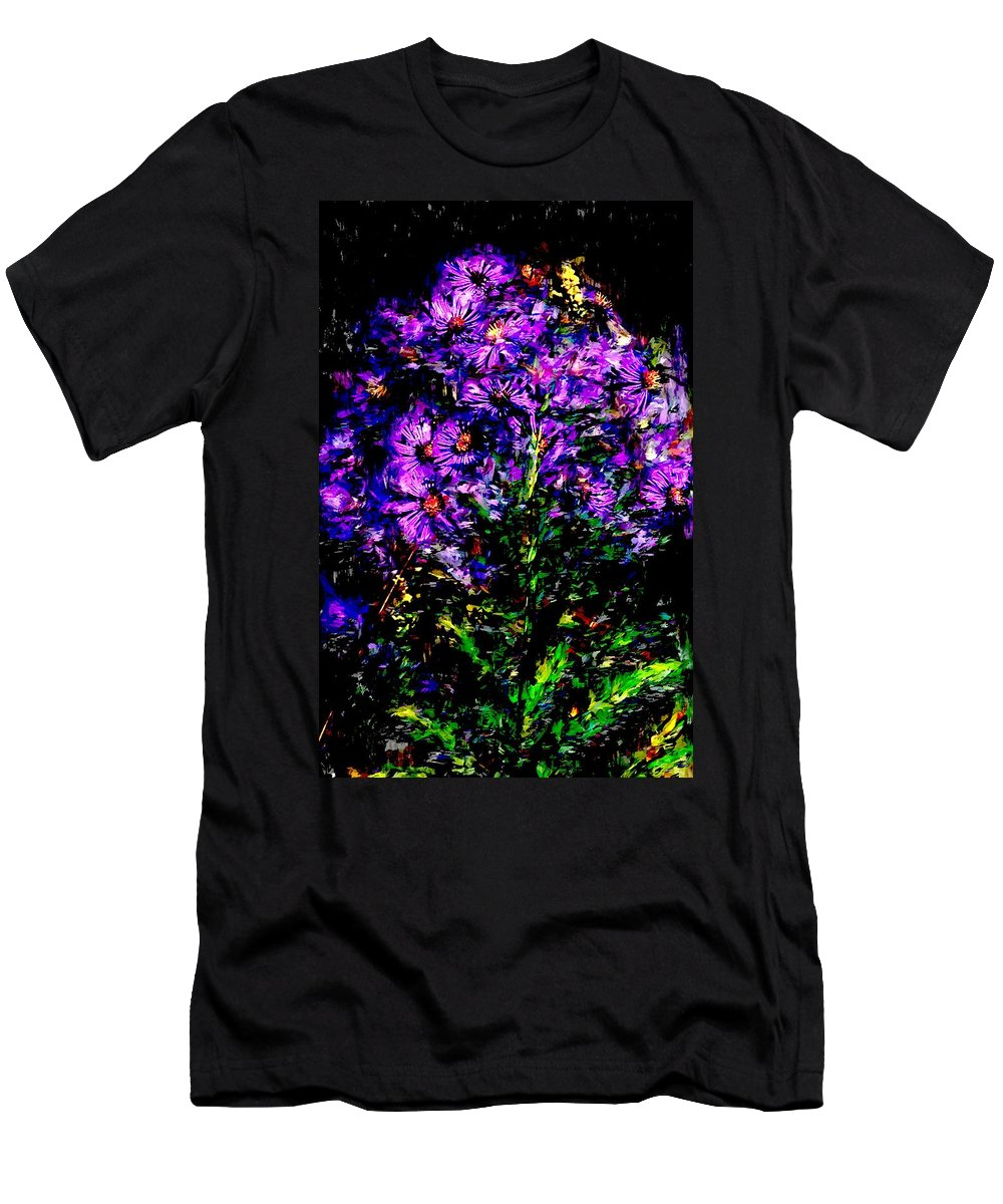 Digital Photograph Men's T-Shirt (Athletic Fit) featuring the photograph Purple Flower Still Life by David Lane