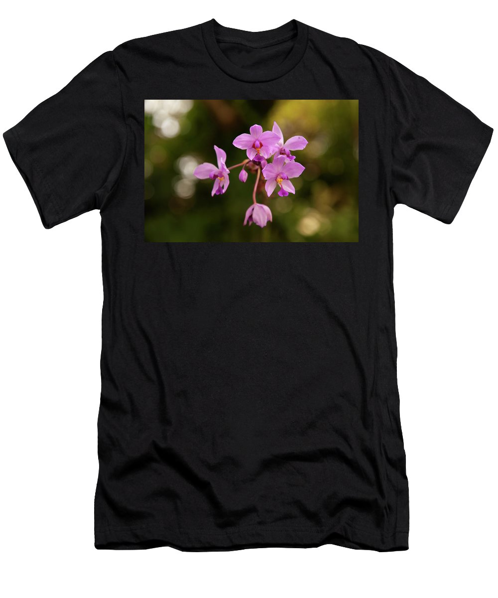 Background Men's T-Shirt (Athletic Fit) featuring the photograph Purple Flowers by Malania Hammer