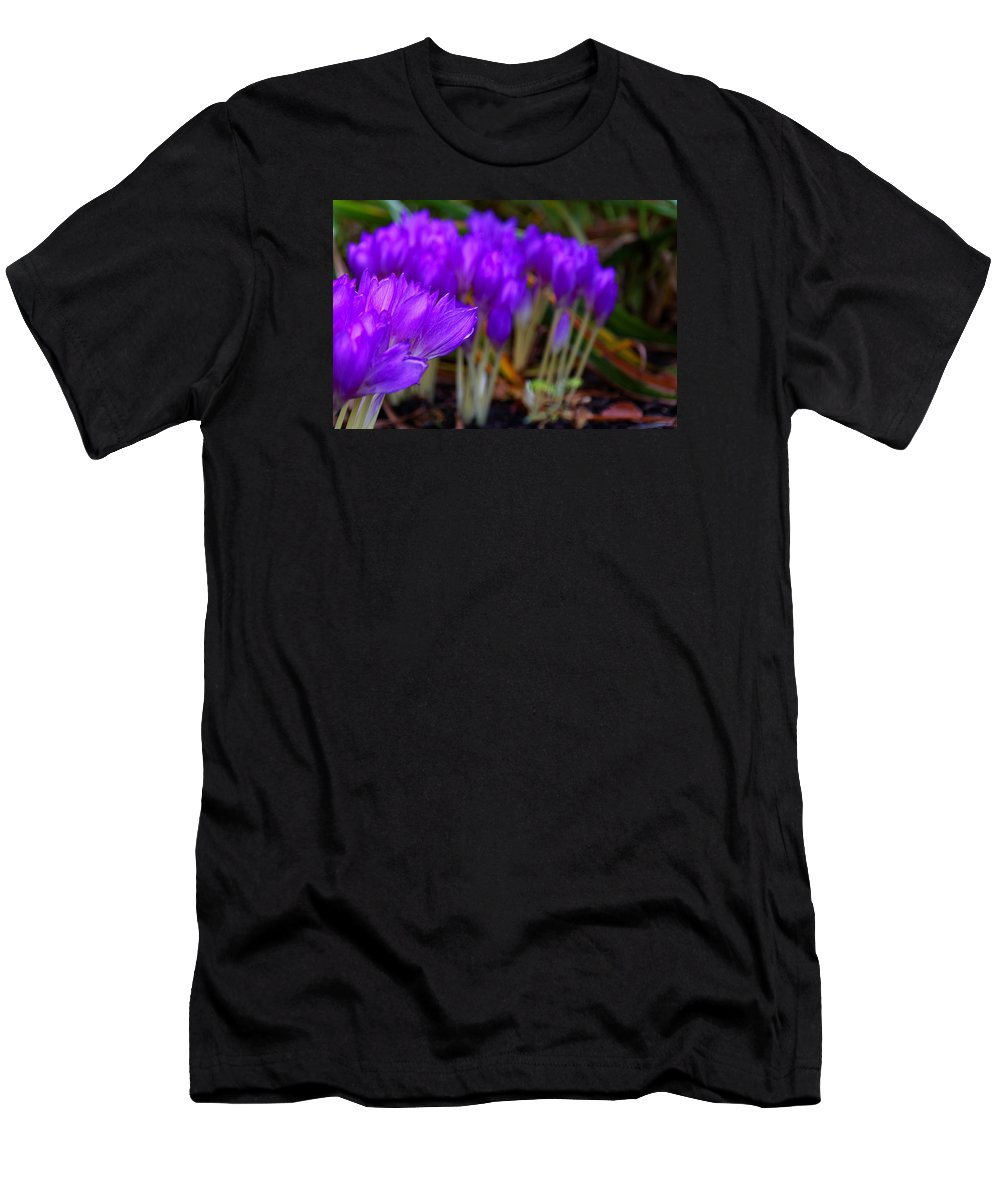 Purple Flowers Men's T-Shirt (Athletic Fit) featuring the photograph Purple Flowers by Scott Hill