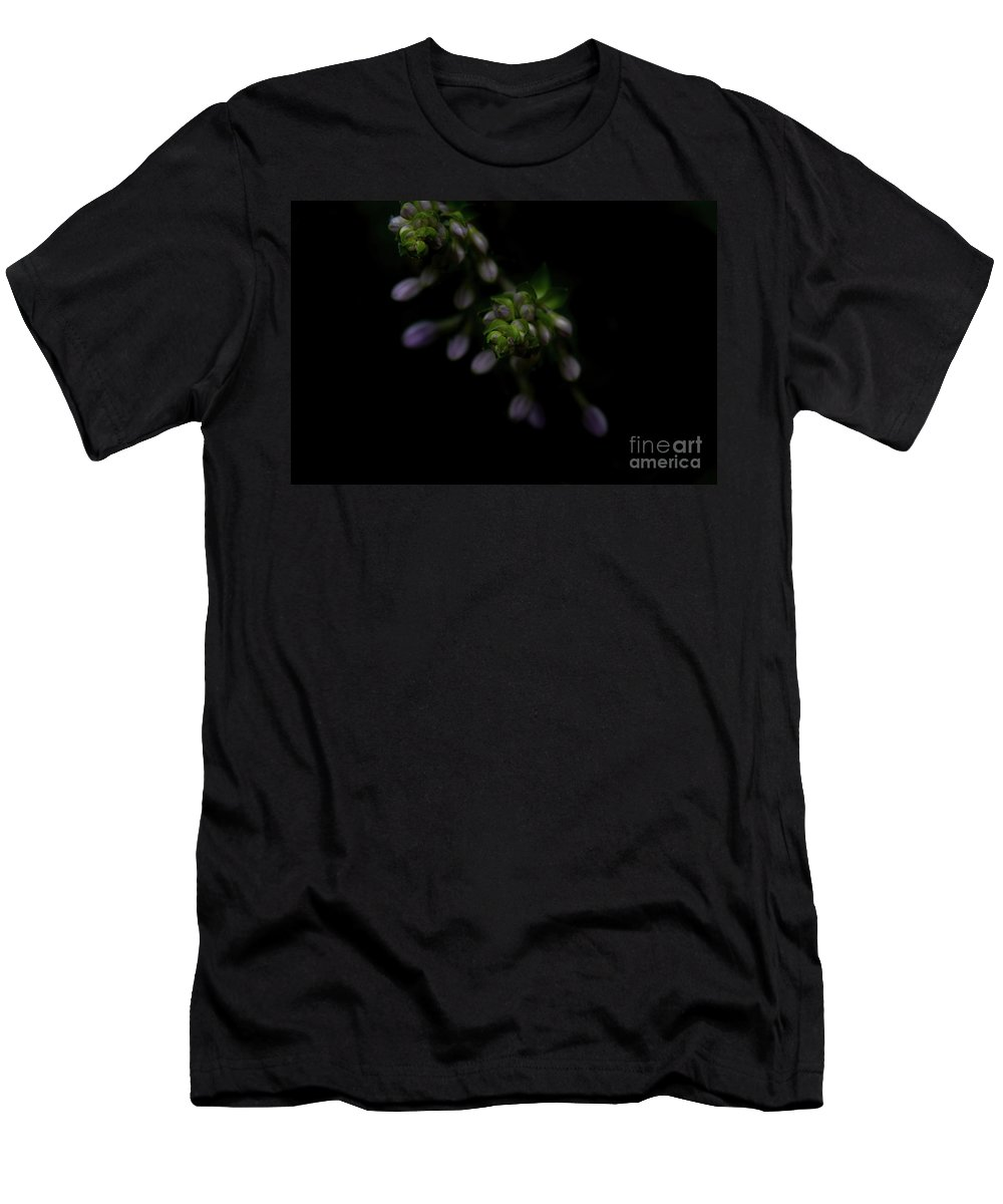 Purple Men's T-Shirt (Athletic Fit) featuring the photograph Purple Hosta Budding Duo - Macro by Adrian DeLeon
