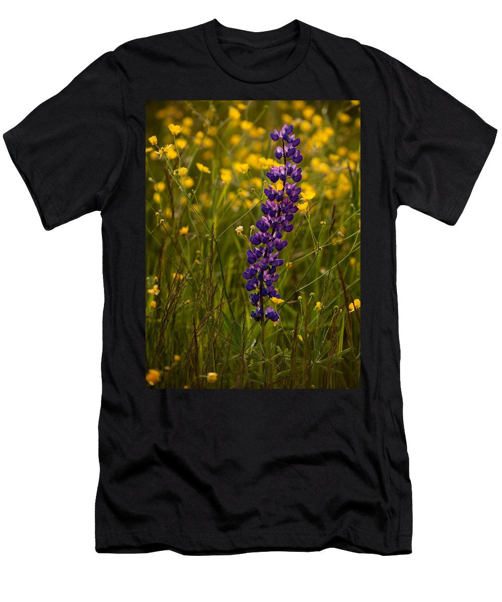 Wildflowers Men's T-Shirt (Athletic Fit) featuring the photograph Purple Lupin And Buttercups by Irwin Barrett