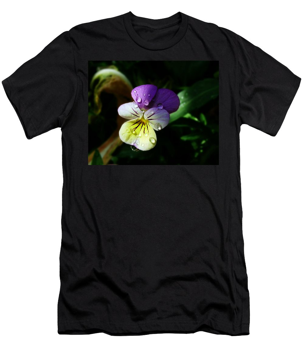 Flower Men's T-Shirt (Athletic Fit) featuring the photograph Purple Pansy by Anthony Jones