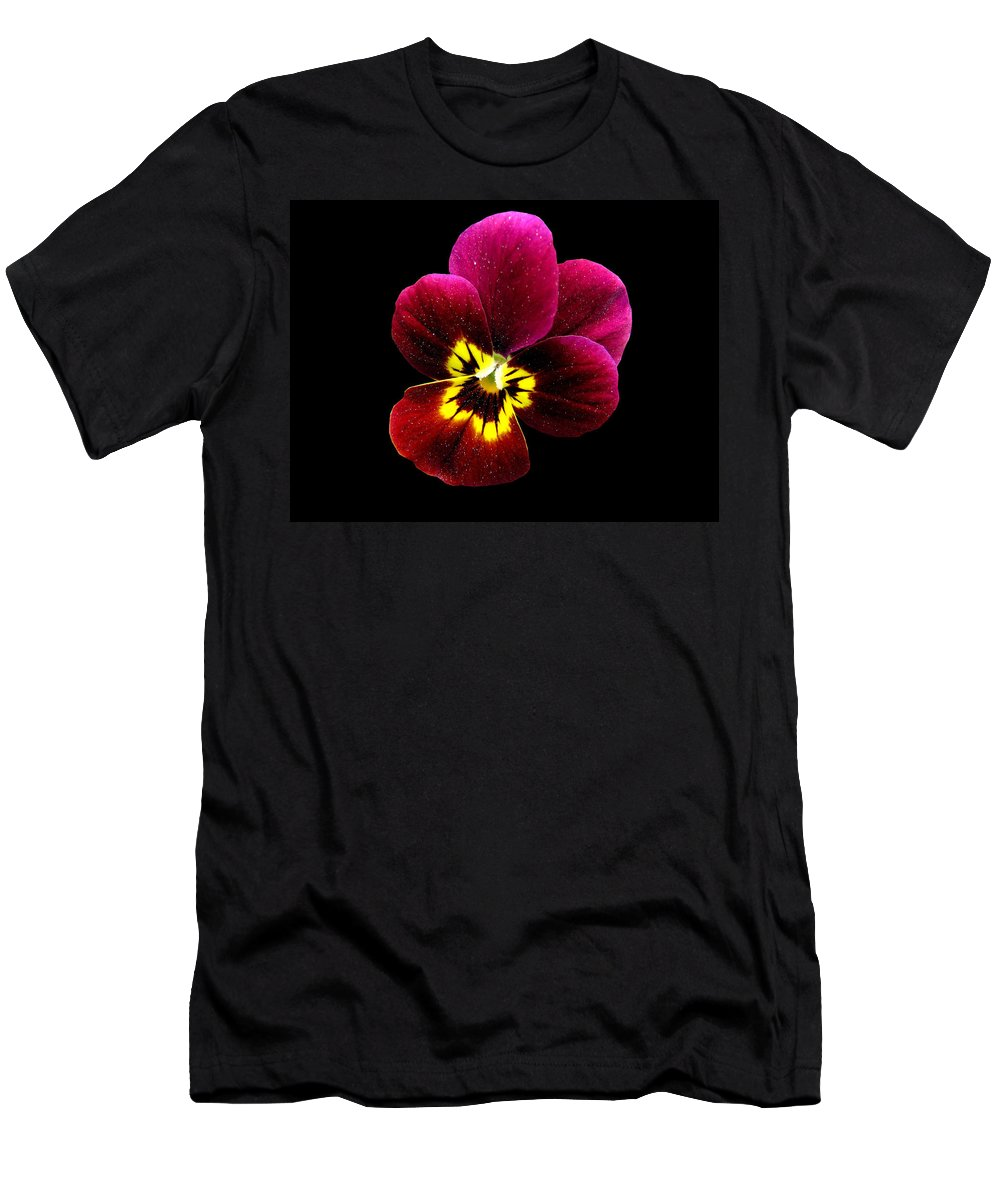 Pansies Men's T-Shirt (Athletic Fit) featuring the photograph Purple Pansy On Black by J M Farris Photography