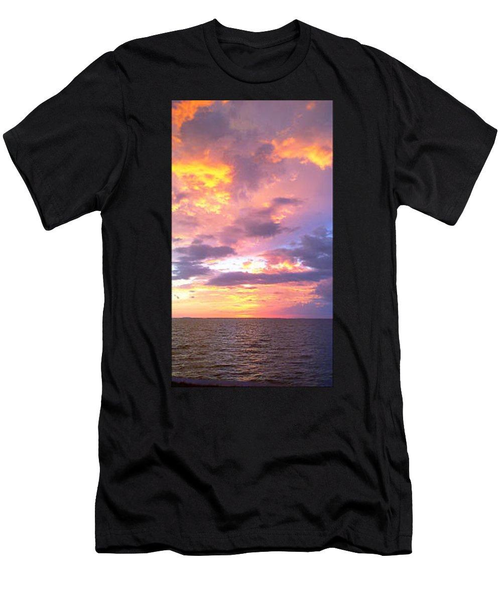Sunset Men's T-Shirt (Athletic Fit) featuring the photograph Purple Paradise by Megan Hopper