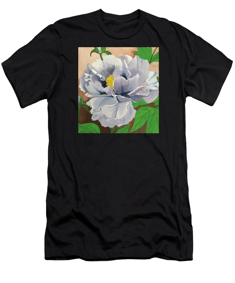 Flower Men's T-Shirt (Athletic Fit) featuring the drawing Purple Peony by Pushpa Sharma