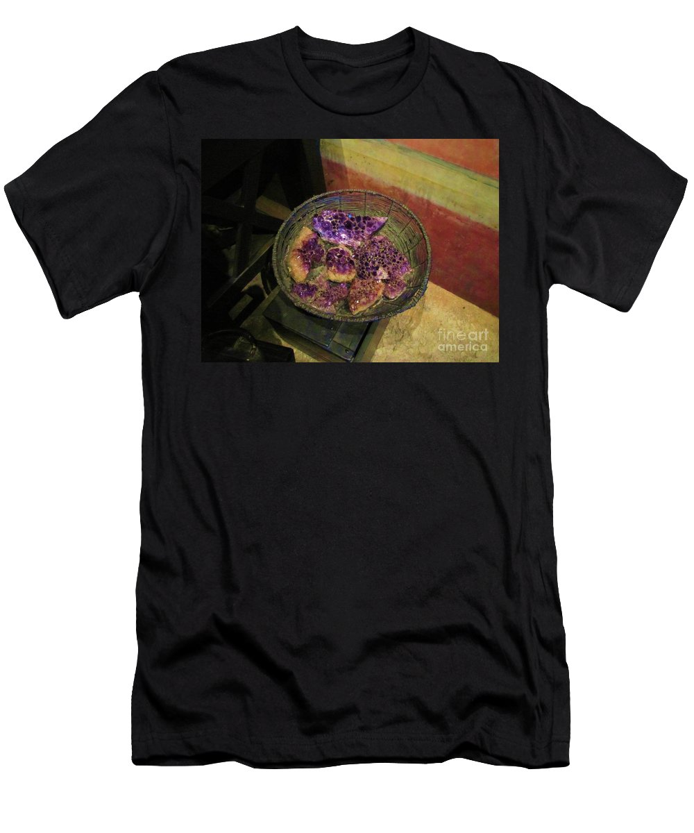Rocks Men's T-Shirt (Athletic Fit) featuring the photograph Purple Rocks by Michelle Powell