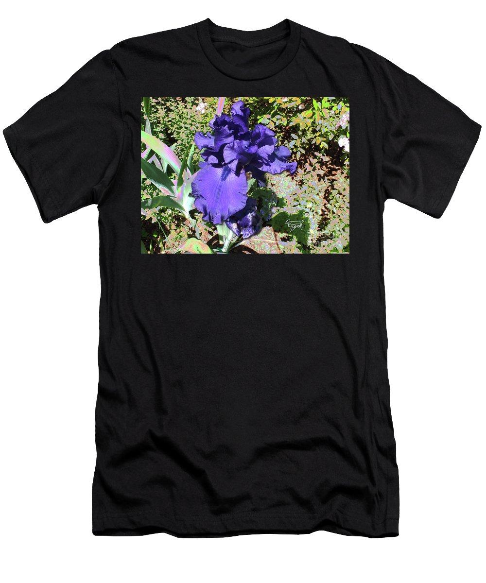 Iris Men's T-Shirt (Athletic Fit) featuring the photograph Purple Springtime Iris by GG Burns