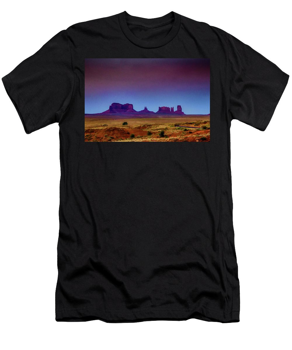 Monument Valley Men's T-Shirt (Athletic Fit) featuring the digital art Purple Sunset In Monument Valley by Lisa Lemmons-Powers