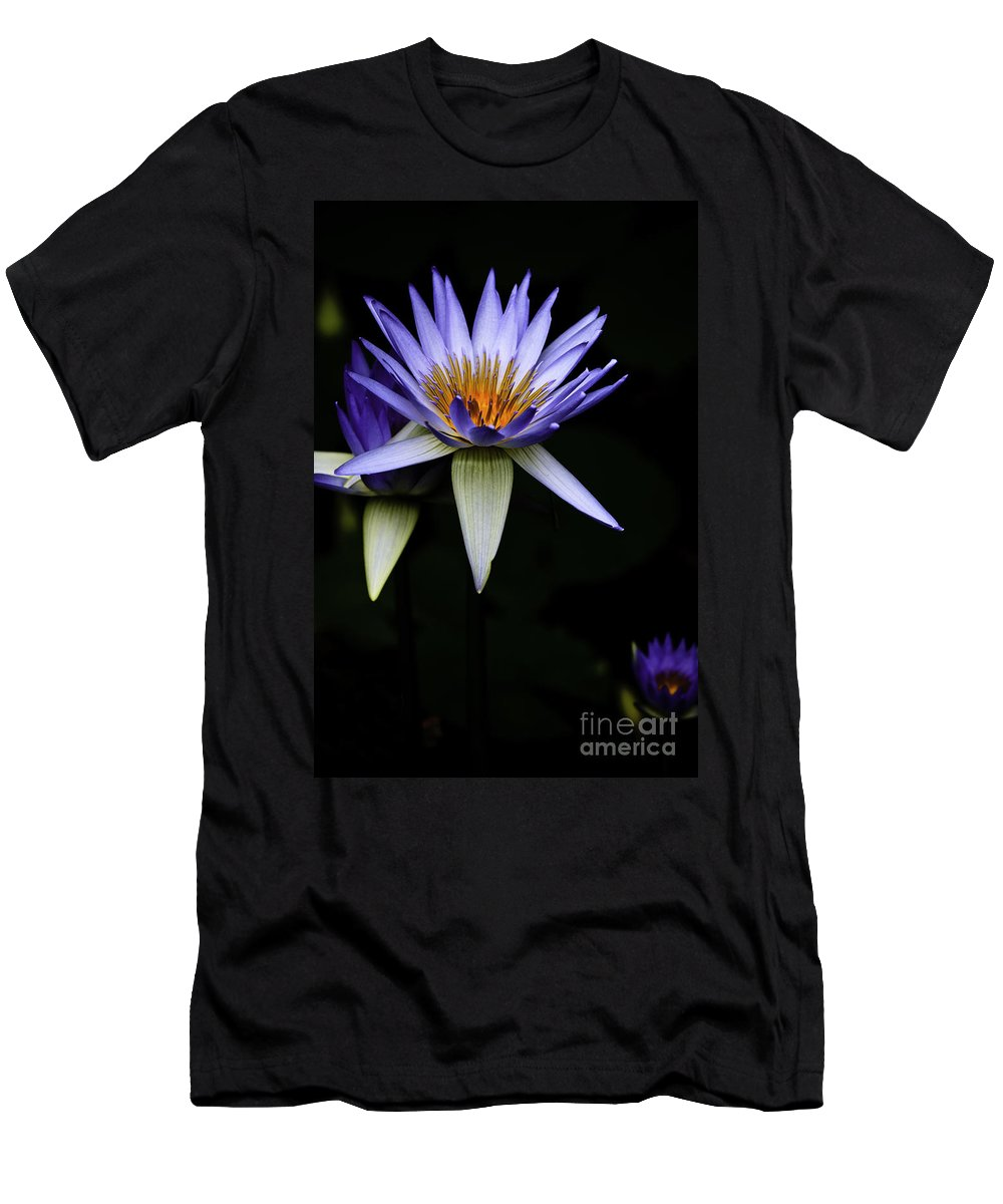 Purple Waterlily Water Lily Flower Flora Men's T-Shirt (Athletic Fit) featuring the photograph Purple Waterlily by Sheila Smart Fine Art Photography