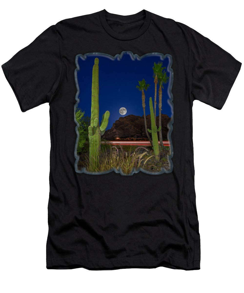 Arizona Men's T-Shirt (Athletic Fit) featuring the photograph Pusch Ridge Full Moon V30 by Mark Myhaver