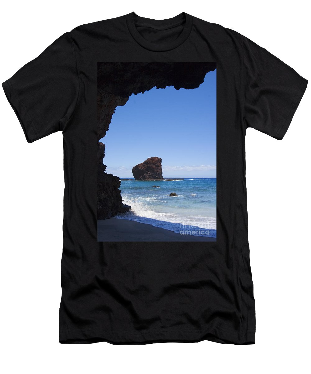 Beach Men's T-Shirt (Athletic Fit) featuring the photograph Puu Pehe, Sweetheart Roc by Ron Dahlquist - Printscapes