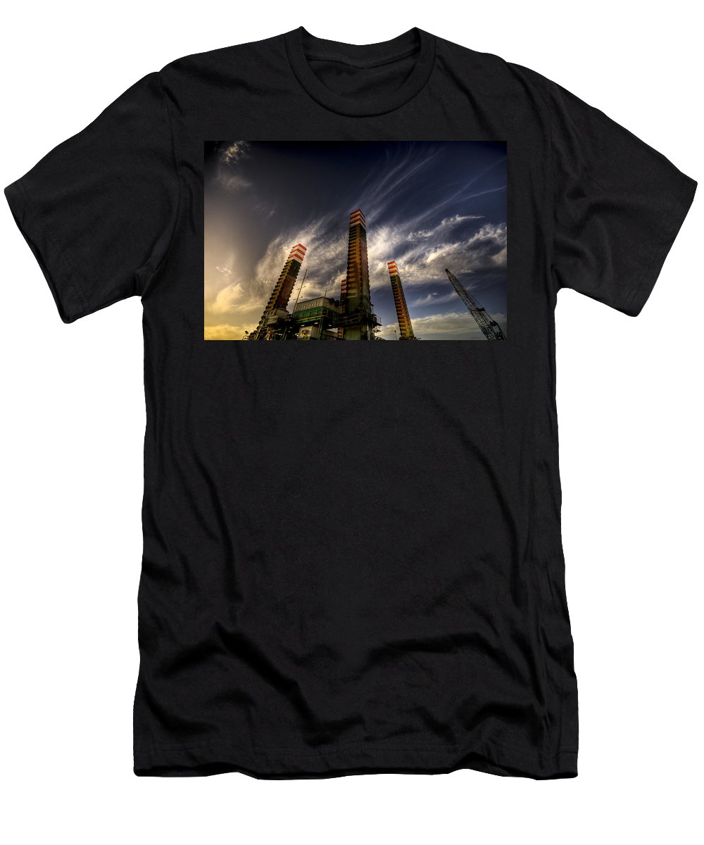 Pylons Men's T-Shirt (Athletic Fit) featuring the photograph Pylons by Wayne Sherriff