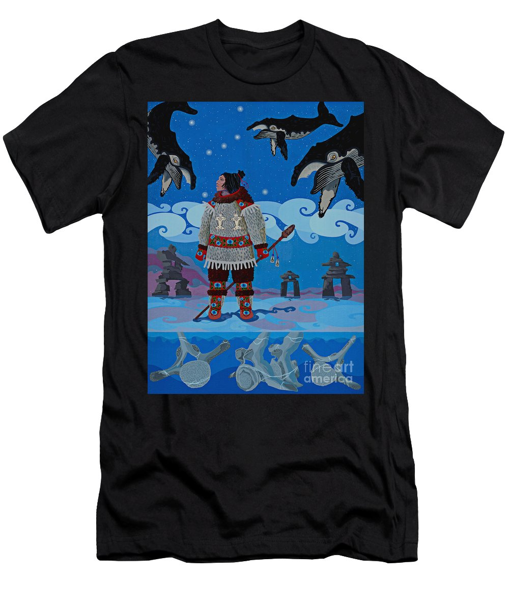 America T-Shirt featuring the painting Qikiqtaaluk Whale Dreamer by Chholing Taha