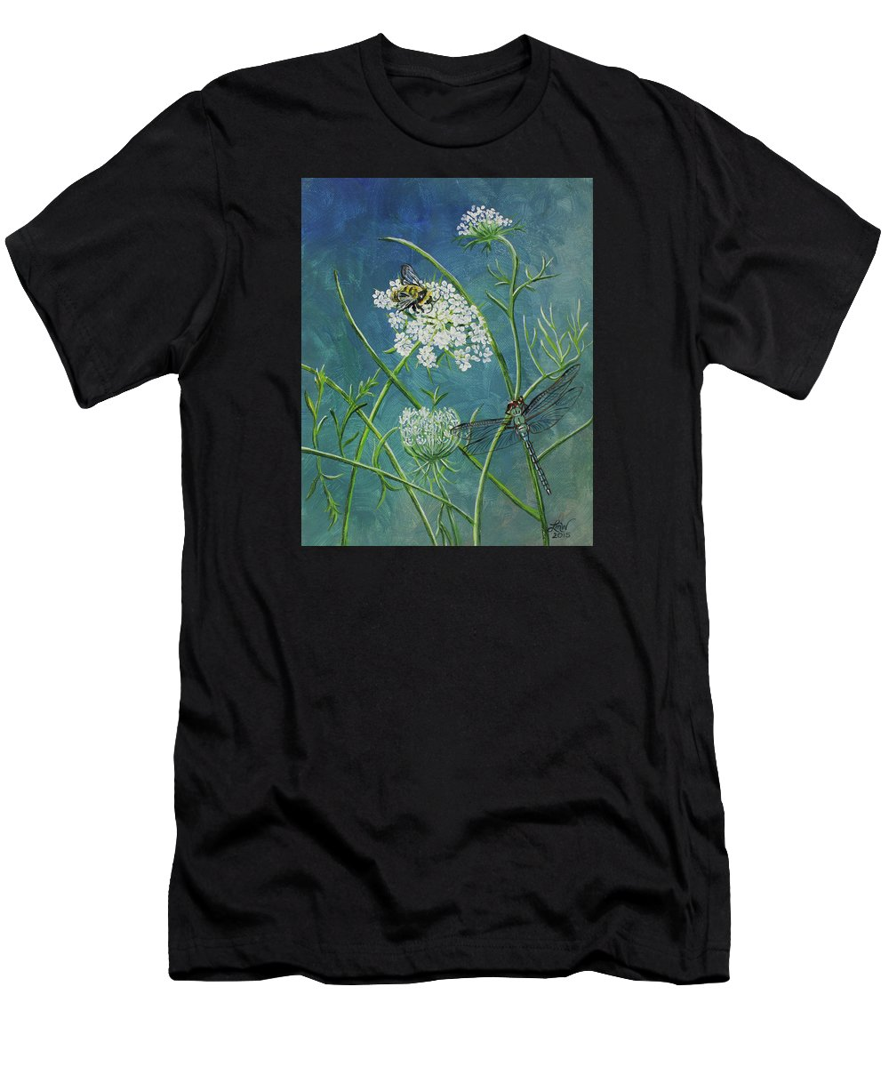 Queen Anne's Lace Men's T-Shirt (Athletic Fit) featuring the painting Queen Anne's Lace by Laura Wilson