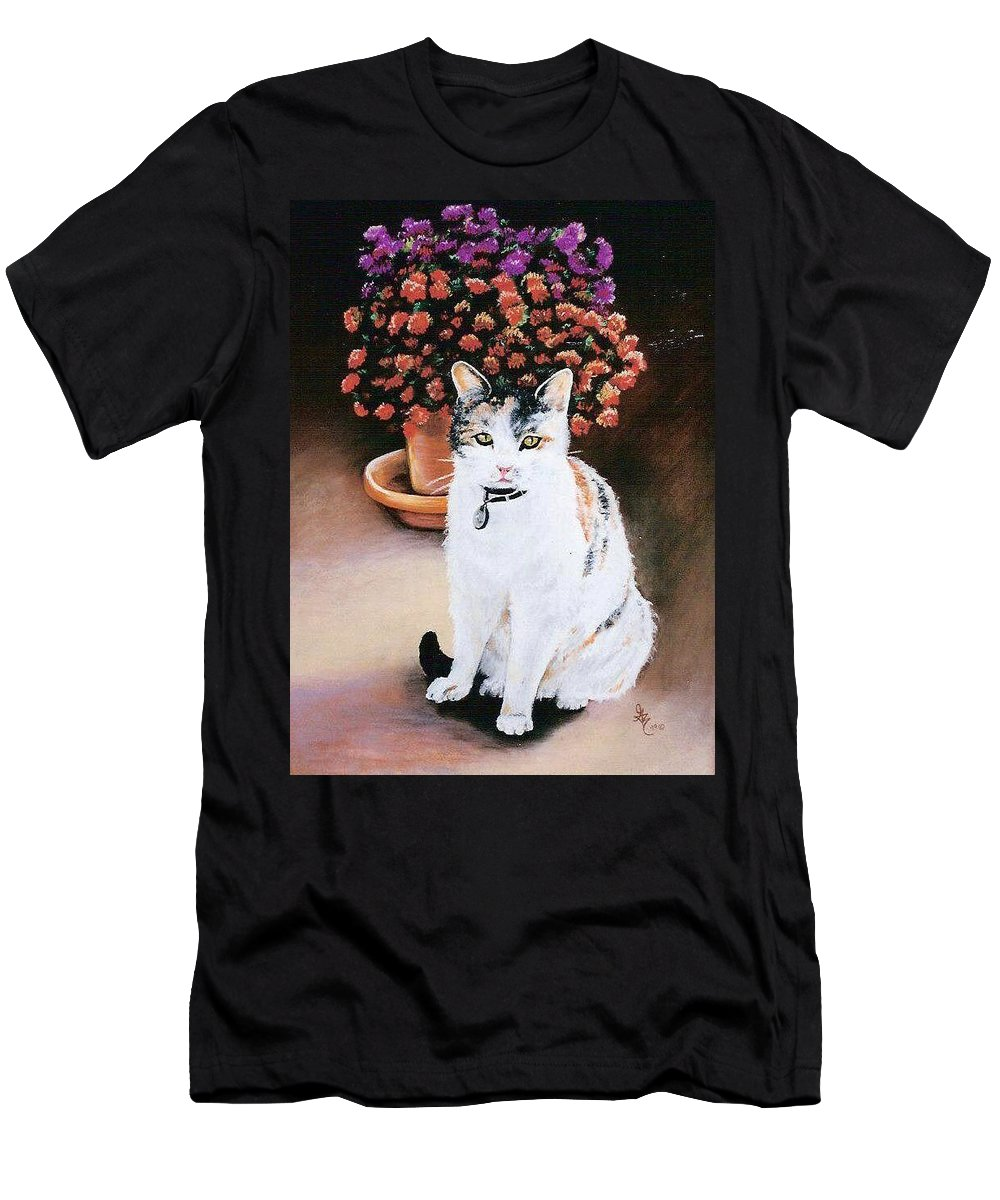 Cat Men's T-Shirt (Athletic Fit) featuring the pastel Queen Marishka by Gale Cochran-Smith