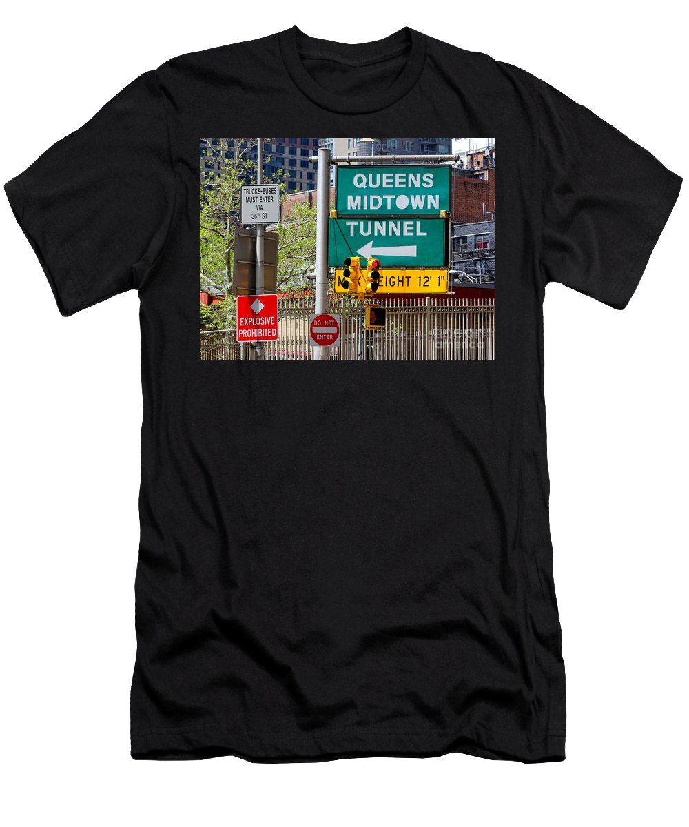 Queens Midtown Tunnel Men's T-Shirt (Athletic Fit) featuring the photograph Queens Midtown Tunnel by Ed Weidman