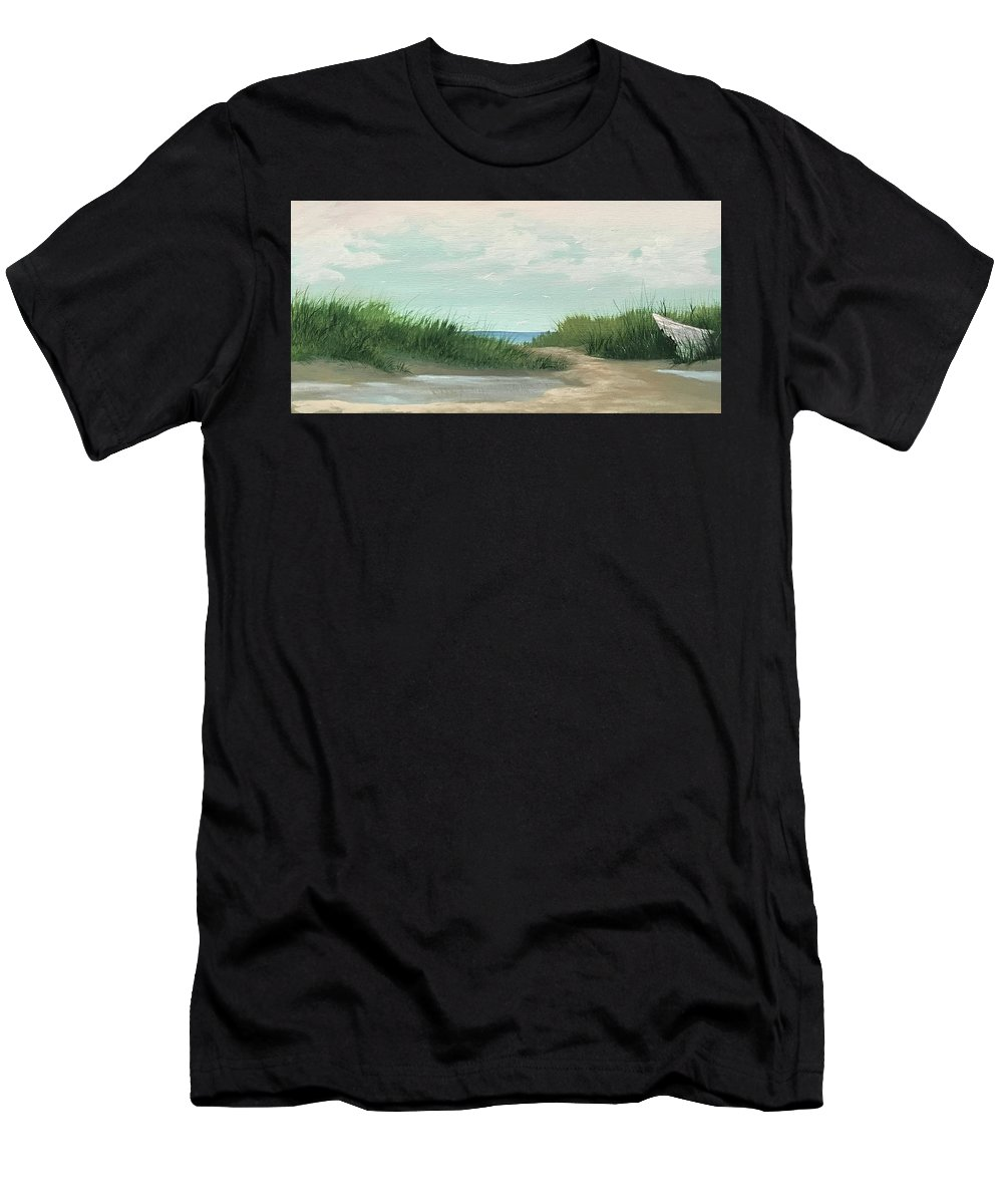 Beach Men's T-Shirt (Athletic Fit) featuring the painting Quiet Beach by Glen Mcclements
