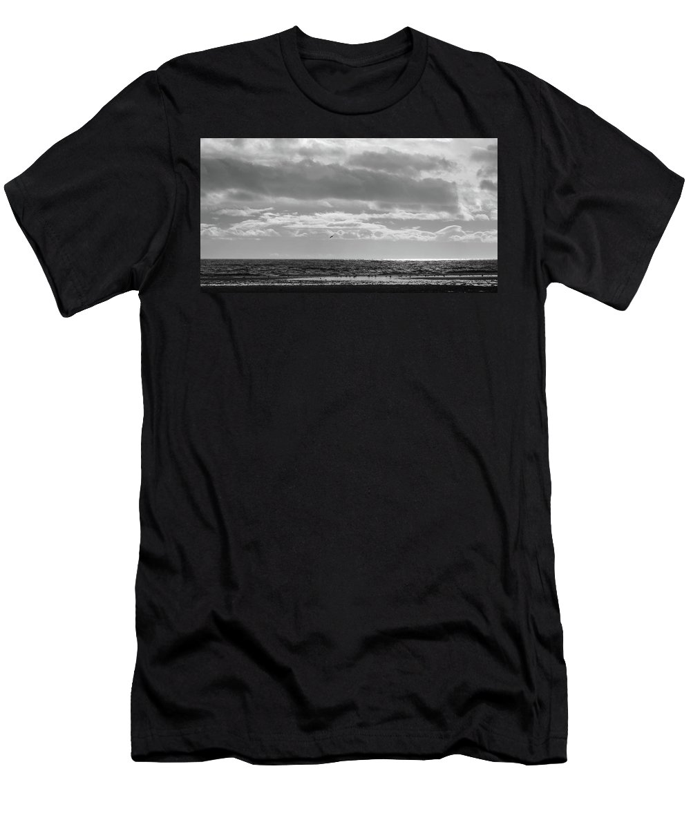 Black And White Men's T-Shirt (Athletic Fit) featuring the photograph Quiet Shores After The Storm by Trance Blackman