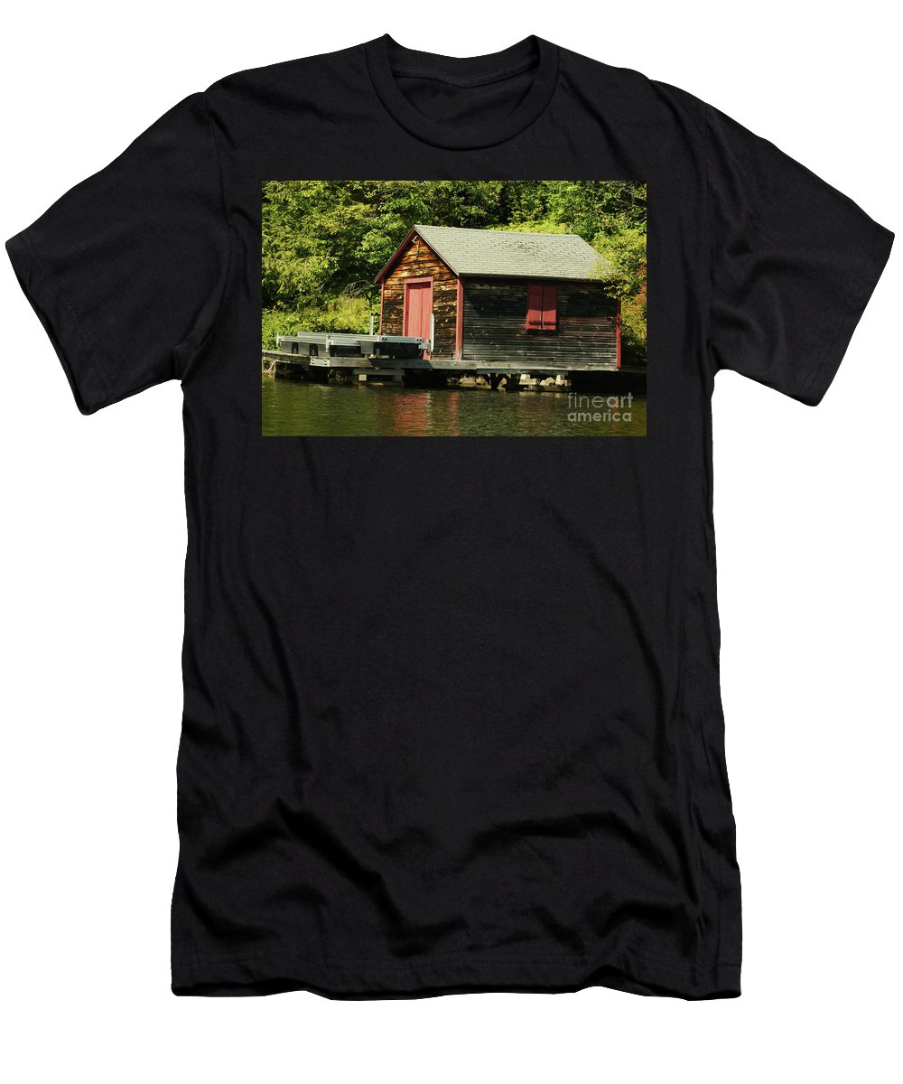 Cabin Men's T-Shirt (Athletic Fit) featuring the photograph Quiet Sunapee Fishing Cabin by Judy Carr