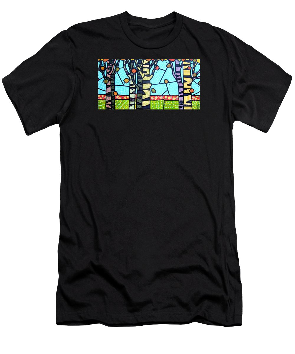 Birch Trees Men's T-Shirt (Athletic Fit) featuring the painting Quilted Birch Garden by Jim Harris