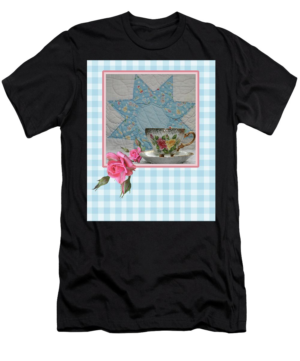 Card Men's T-Shirt (Athletic Fit) featuring the digital art Quilted Star Card by Teresa Frazier